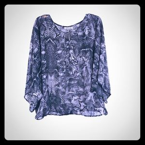JENNIFER LOPEZ Snakeskin Sheer Dolman Top 2X